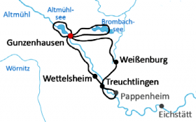 Franconian lake district & Altmühl valley - map