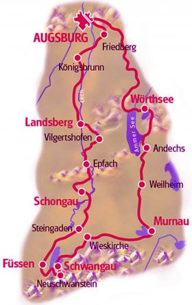 Cycling tour in Swabia & Bavaria - map