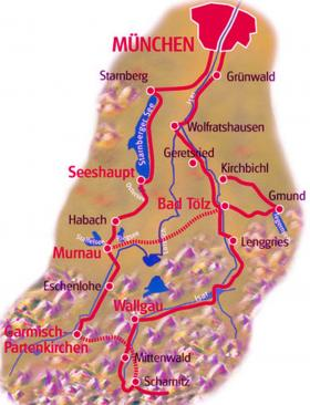 Cycling holidays in Upper Bavaria - map
